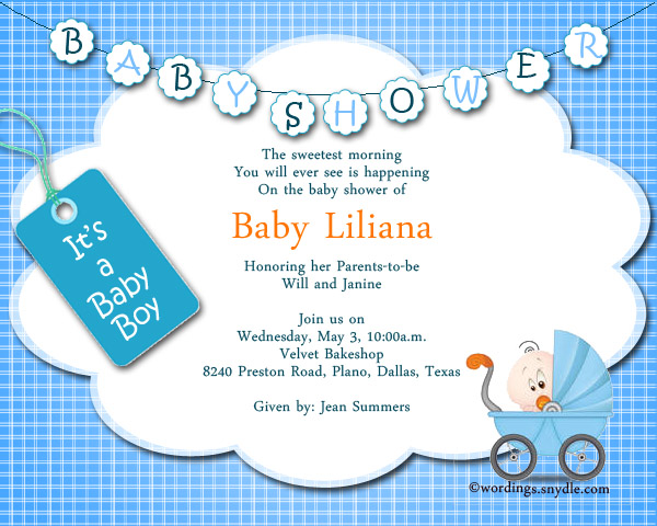 Baby Boy Shower Party Invitation Wordings  Baby Shower Invitations Words