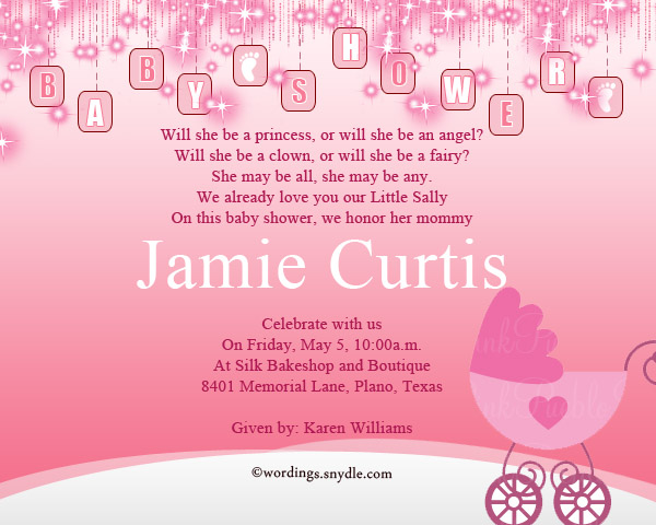 Baby Shower Party Invitation Wording Wordings And Messages - Baby girl shower invitation wording