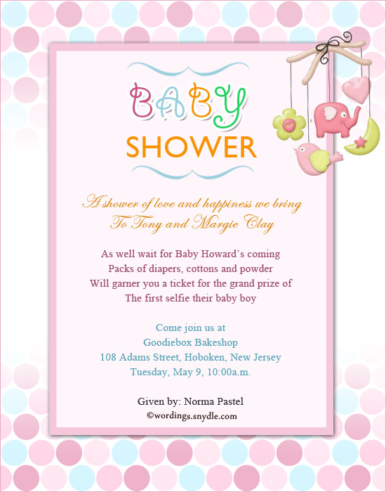 baby shower party invitation wording wordings and messages
