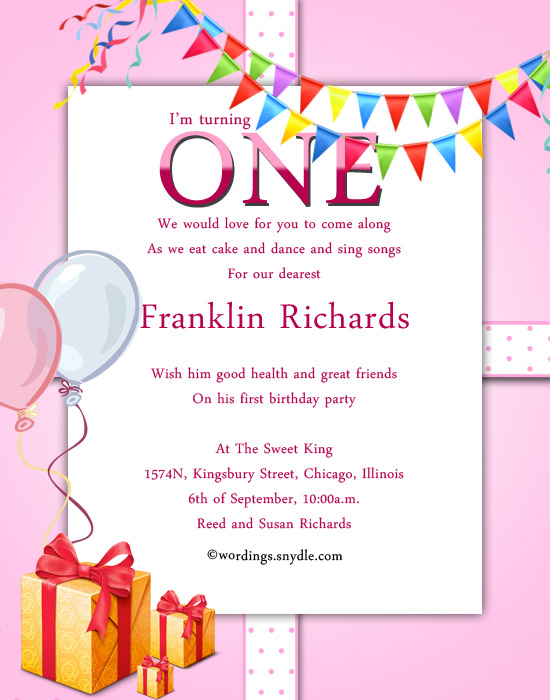 1st Birthday Party Invitation Wording Wordings and Messages – Invitation Greetings for Birthdays