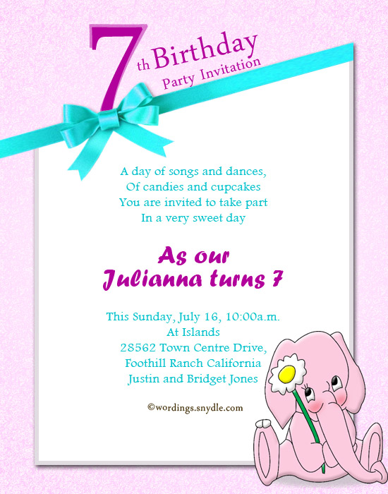 7th Birthday Party Invitation Wording - Wordings and Messages
