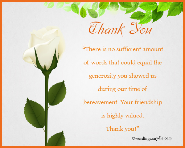 Sympathy Thank You Notes - Wordings And Messages