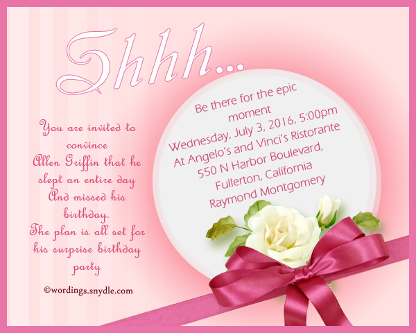 Surprise Birthday Party Invitation Wording Wordings and Messages – Surprise Birthday Invitation Wording
