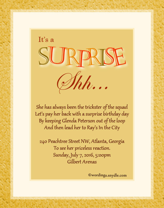 Surprise birthday party invitation wording wordings and messages surprise birthday party invitation greetings stopboris Image collections