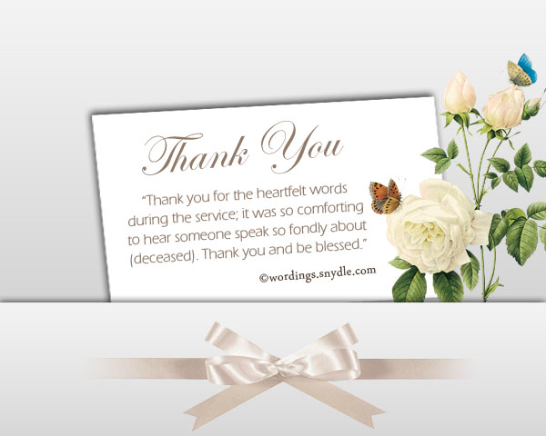 Sympathy Thank You Notes To Coworkers  Funeral Words For Cards