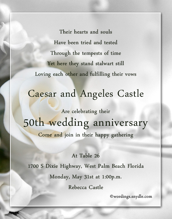 50th Wedding Anniversary Party Invitation Wording Wordings and