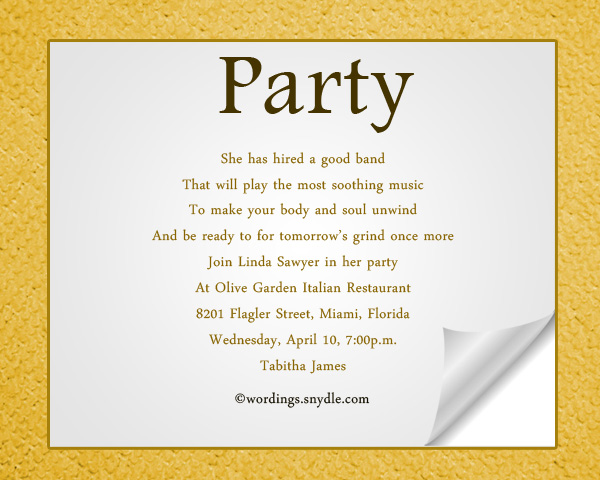 Adult Party Invitation Wordings Sample
