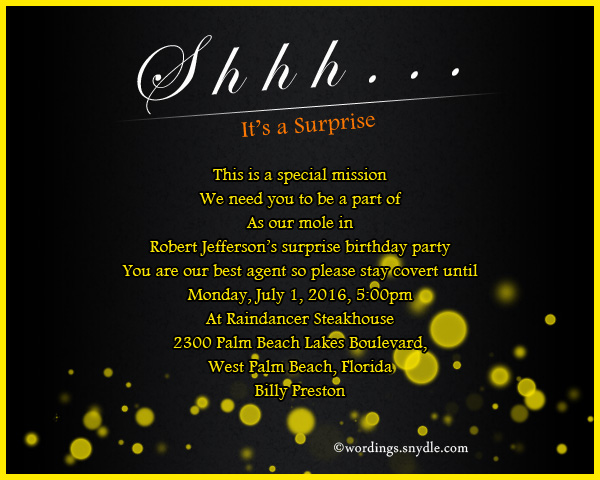 Surprise birthday party invitation wording wordings and messages surprise birthday party invitation wording stopboris Image collections