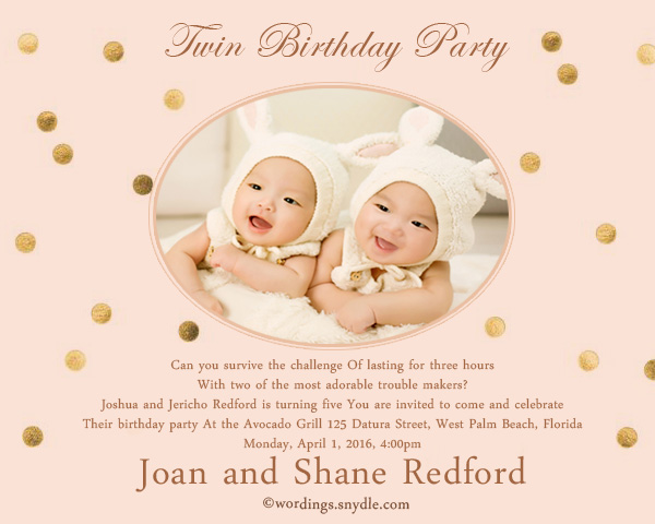 Twin birthday party invitation wording wordings and messages twin birthday party invitation filmwisefo