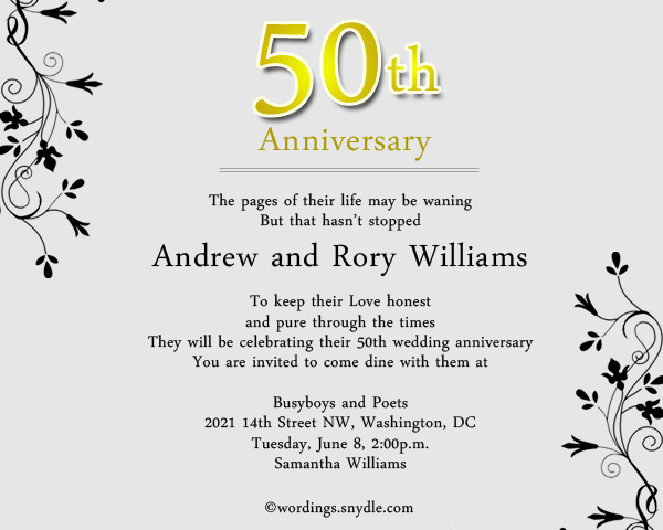 50th wedding anniversary party invitation wording wordings and 50th wedding anniversary invitation greeting cards stopboris Images