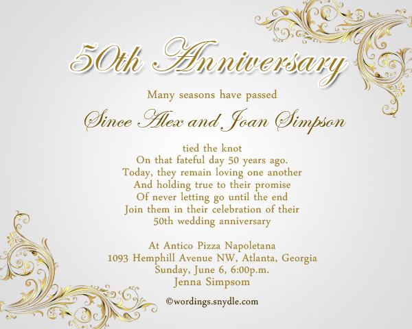 50Th Wedding Anniversary Party Invitation Wording - Wordings And