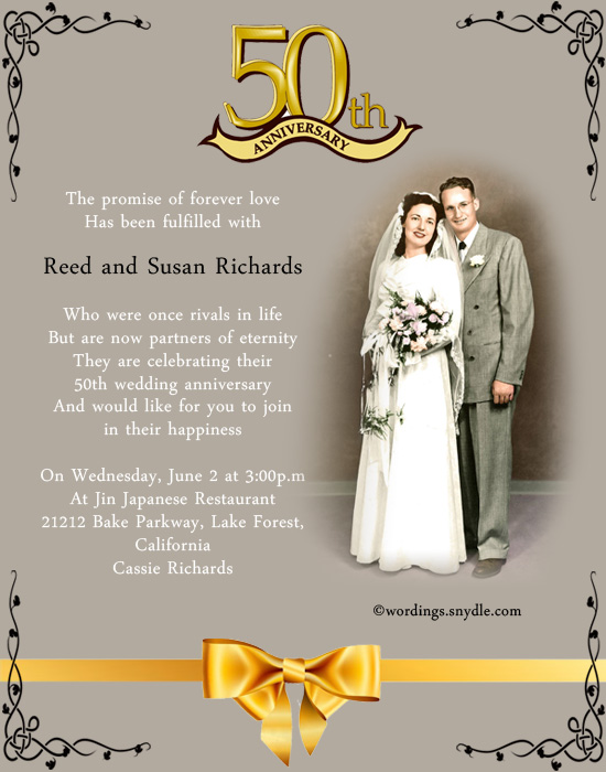 50th Wedding Anniversary Party Invitation Wording Wordings and – Wording for 50th Wedding Anniversary Invitations