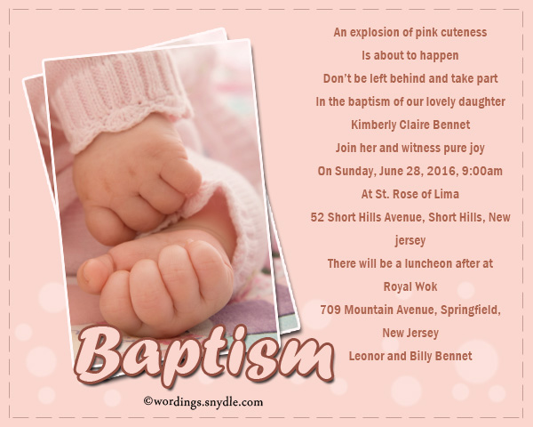 Baptism Invitation Wording Samples Wordings and Messages
