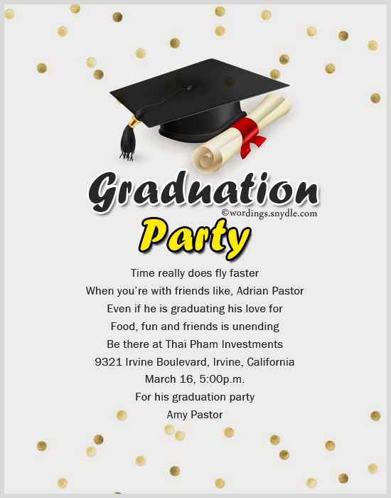 Graduation Party Invitation Wording Wordings And Messages