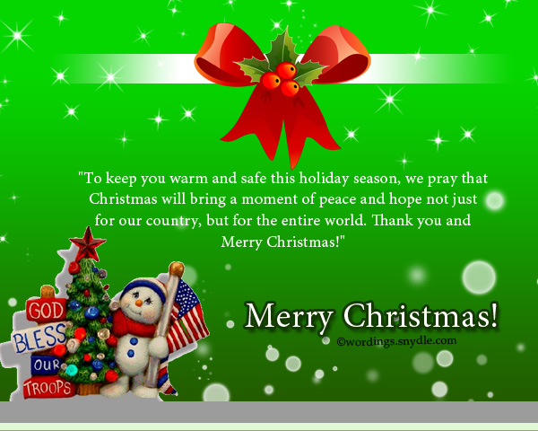 Merry christmas wishes for soldiers wordings and messages christmas messages for soldiers celebrating family love and happiness on christmas is one of the best days of our lives but not all of us can be home for m4hsunfo