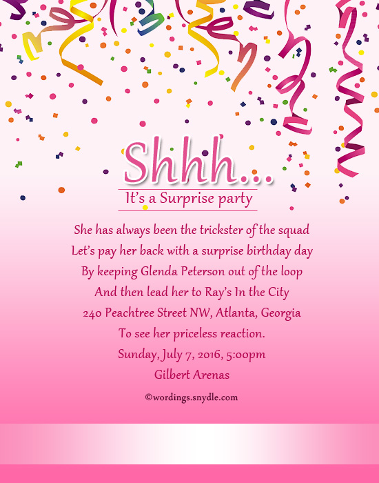 Surprise birthday party invitation wording wordings and messages surprise birthday party invitation cards stopboris Image collections