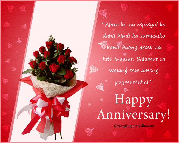 Tagalog happy anniversary messages and wishes wordings and messages