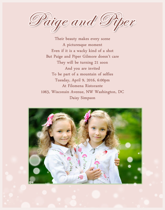 Twin Birthday Party Invitation Greetings