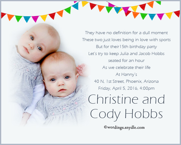 Twin Birthday Party Invitation Wording Wordings and Messages – Twin 1st Birthday Invitations