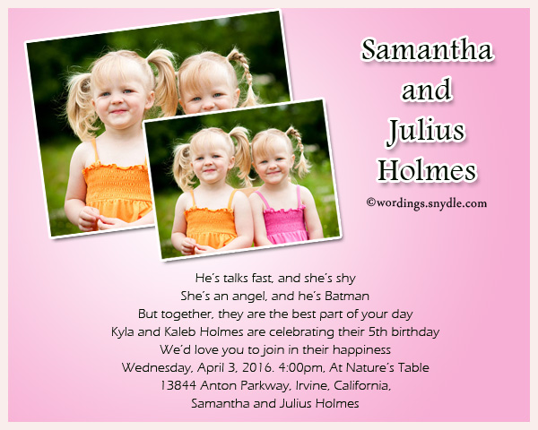 Twin Birthday Party Invitation Wordings