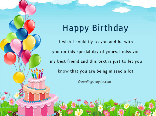 Birthday wishes for best friend female wordings and messages happy birthday i wish i could fly to you and be with you on this special day of yours i miss you my best friend and this text is just to let you know m4hsunfo Gallery