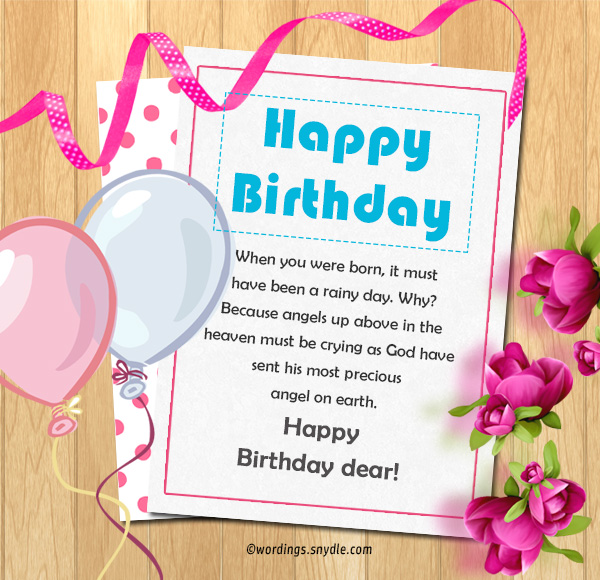 Birthday wishes for best friend female wordings and messages when you were born it must have been a rainy day why because angels up above in the heaven must be crying as god have sent his most precious angel on m4hsunfo
